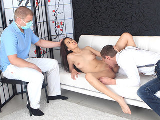 Lena's gynecologist watches her have..
